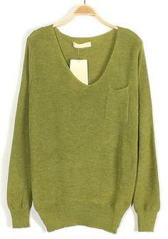 Green Plain Pockets V-neck Loose Knit Sweater