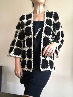 Ravelry: Her Dream Cardigan pattern by Natalia Kononova Crochet Jacket Pattern, Crochet Poncho Patterns, Cardigan Pattern, Crochet Cardigan, Crochet Granny, Crochet Lace, Fillet Crochet, Crochet Crafts, Crochet Clothes