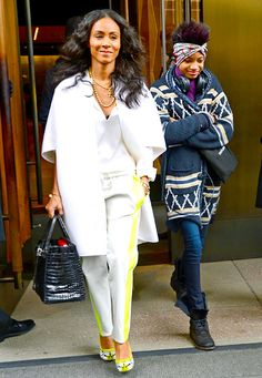 Jada Pinkett-Smith and daughter Willow (Quvenzhane Wallis took the role of Annie in a new movie musical after Willow passed) departed the Trump Soho Hotel in NYC Feb. Mother Daughter Fashion, Daughter Love, Mother And Child, Daughters, Beautiful Family, Black Is Beautiful, Beautiful People, Willow Smith, Jada Pinkett Smith