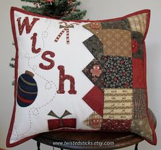 Quilted Christmas Pillow Gingerbread boys throw by twistedsticks, $59.00
