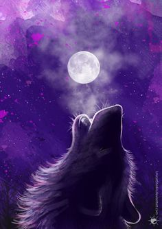 Wolf howling at the moon painting. Moon Spell by UnicatStudio Whats Wallpaper, Wolf Wallpaper, Animal Wallpaper, Fantasy Wolf, Dark Fantasy Art, Madara Wallpaper, Wolf Howling At Moon, Paintings Tumblr, Galaxy Wolf