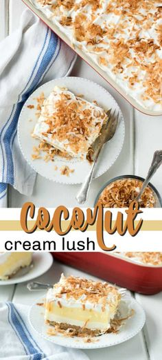 Coconut Cream Lush recipe is light, creamy and filled with coconut pudding deliciousness. It's a cream cheese layered one-pan dessert that's perfect for your next potluck! 13 Desserts, Potluck Desserts, Coconut Desserts, Layered Desserts, Coconut Recipes, Delicious Desserts, Potluck Recipes, Coconut Cream Dessert, Spring Recipes