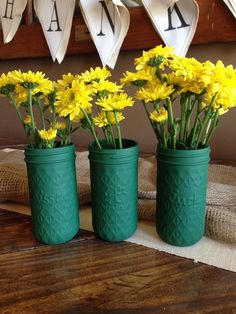 Green St. Patty's Day mason jars by PaintedOlives on Etsy