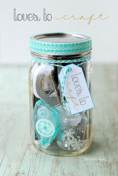 "Craftaholics Anonymous® | 51 Christmas Gift in a Jar Ideas. This ""Loves To Craft"" in a jar is really creative."