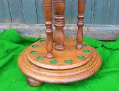 Antique revolving cue stand. Oak. 12 clip. B643 | Browns Antiques Billiards and Interiors.