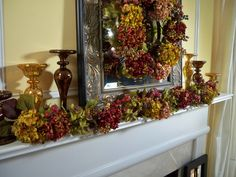 Autumnal Hydrangea Wreath or Garland H200916 & Mercury Glass Pedestals H200926 http://qvc.co/ShopValerieParrHill