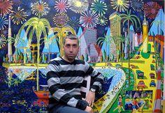 grands art naïf de grandes peintures de taille d'œuvres d'art populaire peinture peintre primitif raphael perez enfant artiste paysage urbain