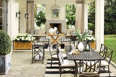 Covered patio with furniture in black and white stripes