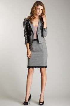 flannel and lace pencil skirt suit