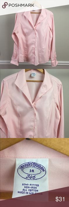 Brooks Bros. 346 Blouse Brooks Brothers 346 cotton, fine twill blouse. It is semi-fitted and features Wall-Street-Lady-Boss French cuffs.  See photos for close ups of twill fabric and cuffs. Brooks Brothers Tops Button Down Shirts