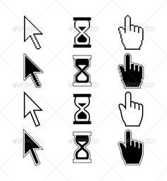 Pixel Cursors Icons. Hand Mouse Pointer Hourglass  #GraphicRiver         Vector illustration of pixel cursors icons – hand cursor mouse pointer hourglass. Editable EPS, high quality JPG and layered PSD     Created: 25October13 GraphicsFilesIncluded: PhotoshopPSD #JPGImage #VectorEPS Layered: Yes MinimumAdobeCSVersion: CS Tags: app #arrow #black #button #click #computer #cursor #direction #finger #hand #hold #icon #information #interface #isolated #mouse #pixel #point #pointer #selection #set…
