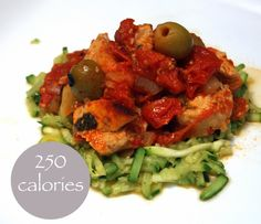 Chicken Puttanesca on Courgetti Lose Day Tuesday (V) 250 calories. 5:2 Fast Diet recipes