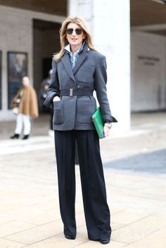 Green bag pops against the gray and black.  NYFW Fall 2013