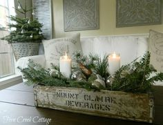 Decorations – Winter Table Ideas & More! Winter Decorations - Winter Table Ideas & More! - MoreWinter Decorations - Winter Table Ideas & More! Farmhouse Christmas Decor, Rustic Christmas, Primitive Christmas, Coffee Table Christmas Decor, Primitive Decor, Christmas Mantles, Vintage Christmas Decorating, French Christmas Decor, Christmas Greenery