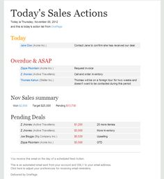 OnePage CRM - Sales Action Action List, First Page