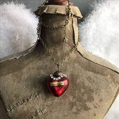 """Mother"" vintage mercury glass assemblage necklace ooak by Alpha Female Studio"