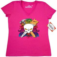 Inktastic Carpenter Skull Women's V-Neck T-Shirt Contractor Handyman Builder Tools Clothing Apparel Tees Adult, Size: Small, Pink