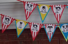 Circus Happy Birthday  Banner ... Red Blue Yellow... MADE TO ORDER ... customize  colors & message ... panels adjustable on Etsy, $19.50