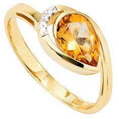 Dreambase Damen-Ring teilrhodiniert 14 Karat (585) Gelbgold 1 Citrin 4 Diamant 0.02 ct. 56 (17.8) von Dreambase, http://www.amazon.de/dp/B00AEEHKH8/ref=cm_sw_r_pi_dp_bq..qb1M75EM6