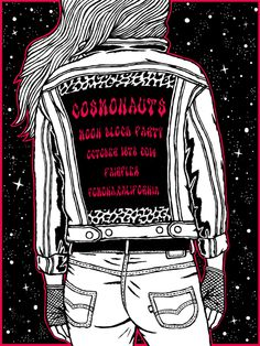 Cosmonauts Moon Block Party Poster #gigposter #cosmonauts #bands #moonblockparty