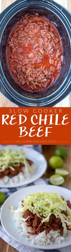 Slow Cooker Red Chile Beef - a delicious and authentic Mexican recipe