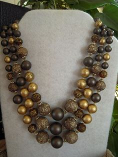 Vintage Multi Strand Beaded Necklace, Brown & Gold Costume Jewelry 1960, Japan #StrandString