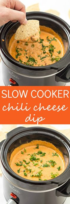 5-Ingredient Slow Cooker Chili Cheese Dip Recipe - Extra quick and easy with your slow cooker doing all the work. So creamy even without Velveeta. Perfect for parties! Doesn't harden as it cools!
