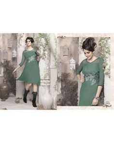 Dull Green Color Georgette Fabric Kurti