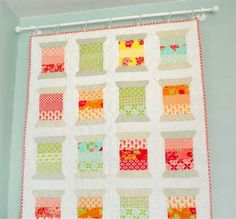 Quilt Design Wall - curtain rod with clips