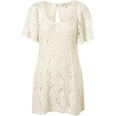 Lace Angel Sleeve Dress (€130) ❤ liked on Polyvore featuring dresses, vestidos, платья, short dresses, women, long-sleeve mini dress, short white dresses, short sleeve dress, slip dresses and white slip
