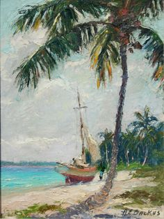 """Beanie"" Backus Florida's Landscape Master 1906 - 1990 Albert Earnest Backus was born in Fort Pierce, Florida . Seascape Paintings, Landscape Paintings, Watercolor Paintings, Impressionist Landscape, Flor Magnolia, Hawaiian Art, Tropical Art, Beach Art, Artist Art"
