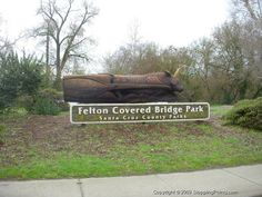 Felton Covered Bridge Park Sign. ThiS is a park that I helped build when I was in High School. Now my boys play there and they call it Mommy's park