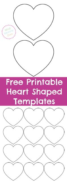 Here are some heart shaped templates in many sizes. They can be used for stencil patterns, appliques, garland, heart crafts, or really anything you need a heart outline for!