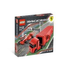 "LEGO Racers Ferrari F1 Truck by LEGO. $49.98. Combine with #8155 Ferrari F1 Pit for even more authentic Ferrari racing excitement!. Truck is 8"" (20cm) long with trailer attached!. Includes Scuderia truck, race car and finish line!. Drive the F1 truck to the track, unload it, get the racing tires from the storage compartments, mount them on the racing car and get ready to make racing history. Tiny Turbos scale Scuderia truck is a 1:55 replica of the real thing. Combines ..."