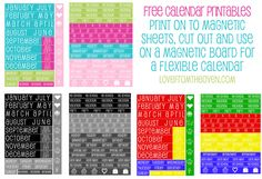 Free Magnetic Calendar Printable at Love From The Oven and a HUGE list of more printables!