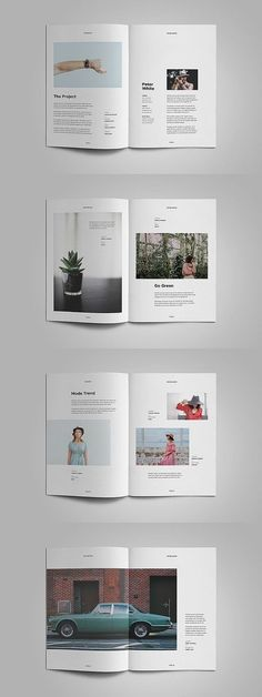 Portfoilo, Designed using Adobe Indesign format. Minimal and elegant design suitable for any industry. Each page features unique layouts with contemporary topography. Template created layered, very easy to adjust. All text can be edited and is equipped Portfolio Design Layouts, Portfolio Web, Printed Portfolio, Page Layout Design, Magazine Layout Design, Book Layout, Product Design Portfolio, Portfolio Format, Indesign Portfolio