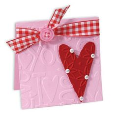 Embossed I Love You Heart Card #2 Show your sweetheart how you really feel with this Embossed I Love You Heart Card. Textured Impressions and a Sizzlits die help you create this card they'll fall in love with. Artist: Deena Ziegler, Sizzix