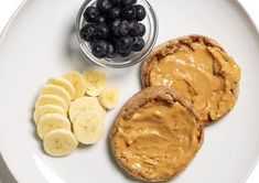 Go back to childhood with peanut butter and bananas. Go back to smaller numbers with 406 calories a sandwich (don't worry, the blueberries are included).