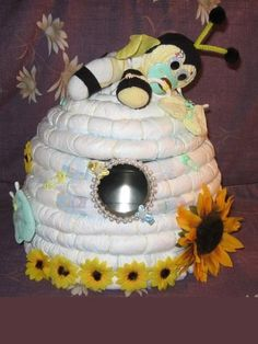 diaper beehive that opens to add goodies