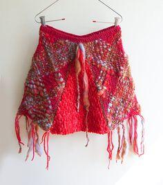 Rustico jaspeado falda rosa y roja