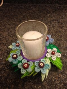 Cd Crafts, Hobbies And Crafts, Paper Crafts, Paper Quilling Tutorial, Quilling Paper Craft, Quilling Patterns, Quilling Designs, Candle Stand, Candle Holders