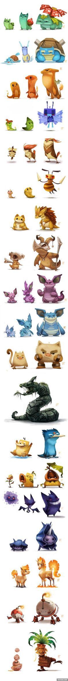 Les Pokémon revisités par l'artiste Piper Thibodeau