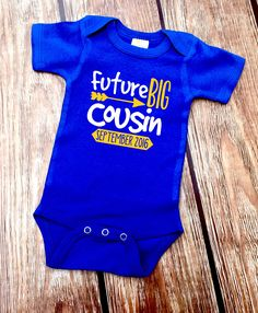 DISCOUNT Code: ANNABELLE15 on all Vazzie Tees purchases <3  Future Big Cousin - Big Cousin Baby Bodysuit - Personalized Announcement Shirt - Baby Announcement Shirt - Cousins Shirts - Unisex Baby by VazzieTees on Etsy https://www.etsy.com/listing/270457613/future-big-cousin-big-cousin-baby