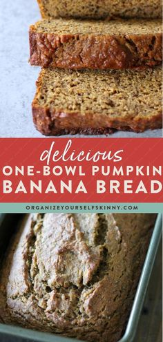 Delicious One-Bowl Pumpkin Banana Bread | Healthy Banana Recipes - Looking for a delicious Fall inspired treat? Pumpkin banana bread bring your two favorite breads together into one delicious easy quick bread recipe! As a bonus you only need one bowl! Organize Yourself Skinny | Healthy Pie Recipes | Pumpkin Bread Recipes | Easy Desserts | Healthy Eating Tips #partyrecipe #fallrecipes  #healthydessert #healthyeating