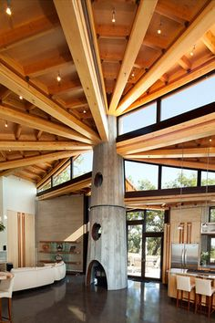 Not sure this vaulted ceiling is heat-efficient, but it's gorgeous, and supported by a rammed-earth beam