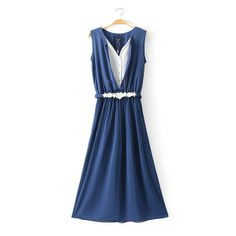 2014 New Fashion Blue Maxi Dress Summer Sleeveless White Color Patchwork Pleated Long Dresses With Belt