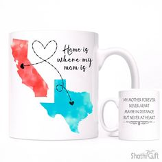 Gift For MOM, Long Distance Relationship Coffee Mug, All States Available, Home is Where My Mom is Mug, Mother's Day Gift from Daughter, by ShathiGift on Etsy https://www.etsy.com/listing/292303591/gift-for-mom-long-distance-relationship