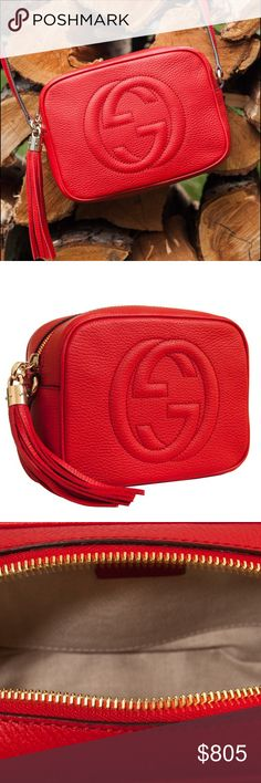 "Gucci Soho Disco Shoulder Bag IN STORES NOW and GUCCI.COM for $980 made in Italy 8""W x 6""H x 2.7""D 21.6"" drop on adjustable strap two interior open pockets zipper closure GUCCI SKU: 308364 A7M0G 6523 Gucci Bags Shoulder Bags"
