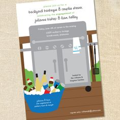Stainless Grill Invitation for BBQs, Cookouts, Pool Parties Engagements & Couples Showers by Sweet Wishes Stationery