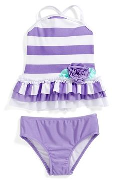 Love U Lots 'Lavender Stripe' Two-Piece Swimsuit (Baby Girls) available at #Nordstrom
